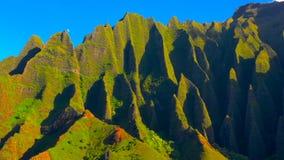 Hawaii travel aerial background of Na Pali coast, Kauai, Hawaii helicopter view. Nature coastline landscape in Kauai island, Hawai. I, USA. Panoramic banner crop royalty free stock photo