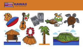 Hawaii travel destination promotional poster with country symbols. Hawaii travel destination poster. Colorful surfboard, acoustic guitar, stone sculptures, fresh royalty free illustration