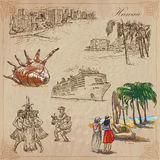Hawaii - Travel. An hand drawn vectors, pack. Stock Photos