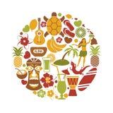 Hawaii travel sightseeing icons and vector Hawaiian landmarks poster Royalty Free Stock Images