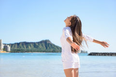 Hawaii travel woman happy carefree Stock Photos