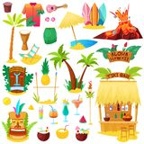 Hawaii vector hawaiian beach with tropical palm and sunbed or exotic fruity cocktails on summer vacation illustration. Set of hula tiki mask and surf icons stock illustration