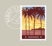 Hawaii vector illustration of tall palm trees at sunset Stock Photography
