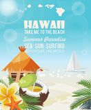 Hawaii vector travel illustration with coco. Summer template. Beach resort. Sunny vacations. Hawaii vector travel illustration with colorful background. Summer royalty free illustration