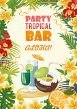 Hawaii vector travel illustration with cocktails. Summer template. Beach resort. Sunny vacations. Hawaii vector travel illustration with colorful background Royalty Free Stock Image