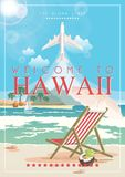 Hawaii vector travel illustration with airplane. Summer template. Beach resort. Sunny vacations. Hawaii vector travel illustration with colorful beach. Summer Royalty Free Stock Photo
