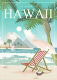 Hawaii vector travel illustration. Summer template. Beach resort. Sunny vacations in retro style. Hawaii vector travel illustration with colorful beach. Summer Royalty Free Stock Image