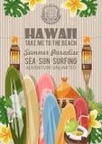 Hawaii vector travel illustration with surfboards. Summer template. Beach resort. Sunny vacations. Hawaii vector travel illustration with colorful beach. Summer vector illustration