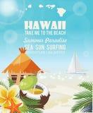 Hawaii-Vektorreiseillustration mit Cocos Gebrauch für Tapete, Musterfüllen, Webseitenhintergrund Rücksortierung durch das Meer So lizenzfreie abbildung
