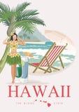 Hawaii-Vektorreiseillustration mit Flugzeug Aloha! Sommerschablone Rücksortierung durch das Meer Sonnige Ferien lizenzfreie abbildung