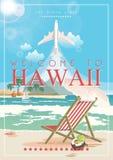 Hawaii-Vektorreiseillustration mit Flugzeug Gebrauch für Tapete, Musterfüllen, Webseitenhintergrund Rücksortierung durch das Meer lizenzfreie abbildung