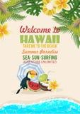 Hawaii-Vektorreiseillustration mit Strand Gebrauch für Tapete, Musterfüllen, Webseitenhintergrund Rücksortierung durch das Meer S lizenzfreie abbildung