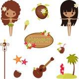 Hawaii vektorsymboler och symboler. Fotografering för Bildbyråer