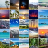 Hawaii view collage. Picturesque view of Hawaii island, set collection Royalty Free Stock Photography
