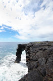 Hawaii Volcanoes National Park Lava Arch Formation, Big Island sea coast Stock Photos