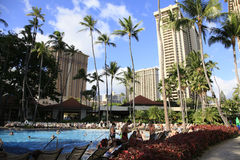 Hawaii Waikiki Beach Honolulu. Waikiki Beach Honolulu Hawaii hotels and Royalty Free Stock Images