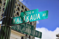 Hawaii Waikiki Beach Honolulu Street Sign. Street sign, Kalakaua Ave. and Royal Hawaiian Ave. is seen  in Waikiki Beach , Hawaii Royalty Free Stock Images