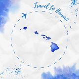 Hawaii watercolor island map in blue colors. Travel to Hawaii poster with airplane trace and handpainted watercolor Hawaii map on crumpled paper. Vector Stock Image