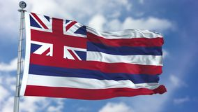 Hawaii Waving Flag. Hawaii U.S. state flag waving against clear blue sky, close up, isolated with clipping path mask luma channel, perfect for film, news stock image
