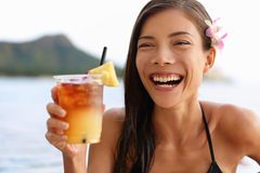 Hawaii woman drinking Mai Tai hawaiian drink Stock Image