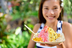 Hawaii woman eating Hawaiian shave ice Stock Image