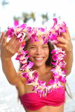 Hawaii woman showing flower lei garland Stock Photo