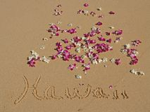 Hawaii Written in Sand on Hawaiian Beach Orchids Stock Photography