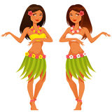 Hawaiiaans meisje die in traditioneel kostuum dansen Stock Afbeelding