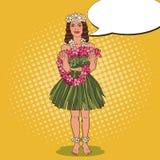Hawaiiaans Meisje met Traditionele Tropische Bloemhalsband Pop-artillustratie vector illustratie
