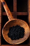 Hawaiiaans Zwart lava overzees zout in rustieke houten lepel stock afbeelding