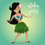 Hawaiiaanse Aloha Party Invitation met Hawaiiaans hula dansend meisje stock illustratie