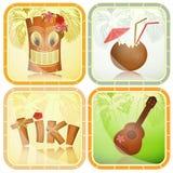 Hawaiiaanse geplaatste pictogrammen Royalty-vrije Stock Afbeelding