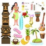 Hawaiiaanse geplaatste pictogrammen en symbolen Stock Afbeelding