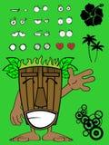 Hawaiiaanse het beeldverhaaluitdrukking happy3 van het tikimasker Royalty-vrije Stock Afbeelding