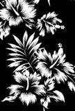 Hawaiiaanse patronen, zwart-witte toon. Stock Afbeelding