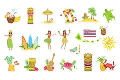 Hawaiiaanse Vakantiereeks Klassieke Symbolen vector illustratie