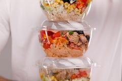 Hawaiian ahi Salmon poke bowl in plastic box royalty free stock image