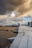 Hawaiian Airlines landed in Sydney, Australia - docked to jetway royalty free stock photos