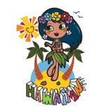 Hawaiian Aloha girl. Hawaiian girl dancing and saying aloha to all in a sunny day vector illustration