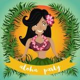 Hawaiian Aloha Party Invitation with Hawaiian hula dancing girl, palm leaves and ribbon. Royalty Free Stock Photo