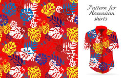 Hawaiian aloha shirt. an icon in a flat style isolated on white background. Seamless tropical floral background. Vector Hawaiian exotic flowers pattern on shirt Stock Photos