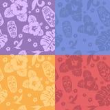 Hawaiian aloha shirt seamless backgrounds set Stock Images