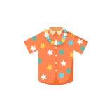Hawaiian aloha shirt. Vector illustration hawaii shirt and fashion hawaii shirt aloha beach male cloth. Hawaii shirt adult clothing pattern design and modern royalty free illustration