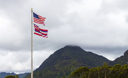 Hawaiian and American Flags Royalty Free Stock Image