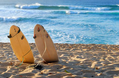 Hawaiian Beach. With 2 surfboards sticking in the sand Stock Photos