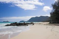 Hawaiian beach. Bellows Beach at Oahu Royalty Free Stock Image