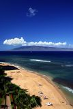 Hawaiian Beach. From a high perspective with a hawaiian island in the background Royalty Free Stock Images