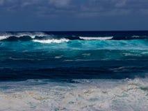 Hawaiian beach with blue waves. Hawaiian beach with blue ocean waves with blue sky stock photos