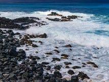 Hawaiian beach with blue waves. Hawaiian beach with blue ocean waves with blue sky stock photography