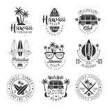 Hawaiian Beach Surfing Vacation Black And White Sign Design Templates With Text And Tools Silhouettes Stock Images
